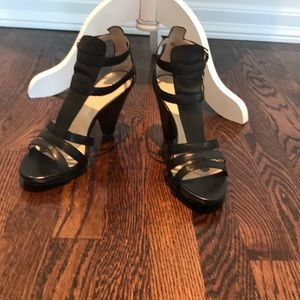 Franco Sarto black leather stacked heel sandal